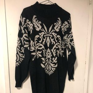 [ vintage ] long black & silver tunic sweater EUC